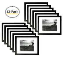 11x14 Black Photo Frame - Wood, Real Glass, and White Mat Display for 8x10 Picture (Wall Display) (12pcs/box)