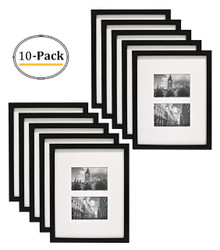 11x14 Photo Wood Collage Frame with REAL GLASS and White Mat for (2) 4x6 Picture, Black (10pcs/box)