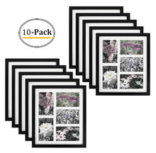 11.6x13.7 Black Photo Wood Collage Frame with REAL GLASS and White displays (5) 4x6 pictures  (10pcs/box)