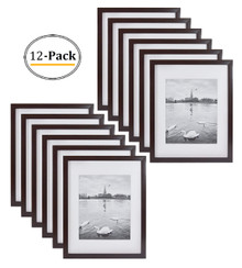 Expresso Photo Wood Collage Frame with White MAT& Real Glass (11x14) (12pcs/box)
