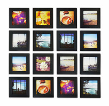 Smartphone Instagram Frame Collection, 4x4-inch Square Photo Wood Frames, Black (16pcs/box)