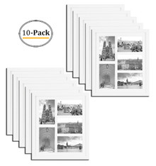 11.6x13.7 White Photo Wood Collage Frame with Real Glass and White Mat displays (5) 4x6 Pictures (10pcs/box)
