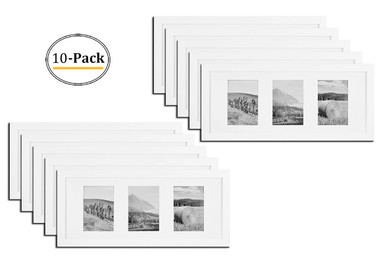 8x20 White Photo Wood Collage Frame With Real Glass