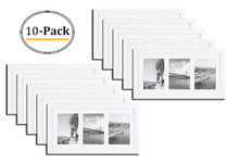 9x18 White Photo Wood Collage Frame with White Mat, displays (3) 5x7 pictures with Real Glass (10pcs/box)