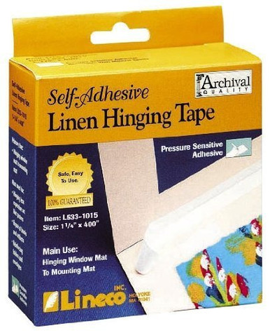 """Picture Framing Supplies-Lineco Self-Adhesive Linen Hinging Tape-1 1/4"""" x35 ft"""