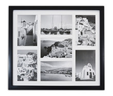 "13.7x15.7 Matted Black Wood 7-Opening for 4 x 6"" Collage Picture Frame"