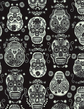 Timeless Treasures- Fun- Glow in the dark Skulls