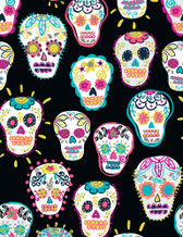 Timeless Treasures- Sugar Skulls Black