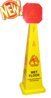 """Boss Part # B010011 - 46"""" Yellow Caution Cone with 10"""" Red Warning Sign"""