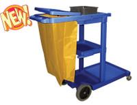 Blue Plastic Janitor Cart with Yellow Zipper 5-Bushel Bag