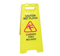 SIGN WET FLOOR CAUTION ENGLISH/SPANISH