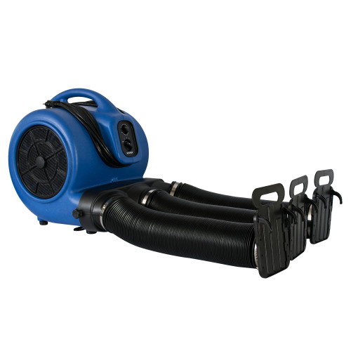 XPOWER X-800TF 3/4 HP Air Mover Cage Dryer, Carpet Dryer, Floor Fan, Utility Blower-with 3-Hour Timer, Multi Cage Drying Hose Kit