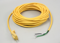 Power Cord, 16/3 Yellow, Smooth Jacket, 50', Molded Plug, Brass Plug Blades