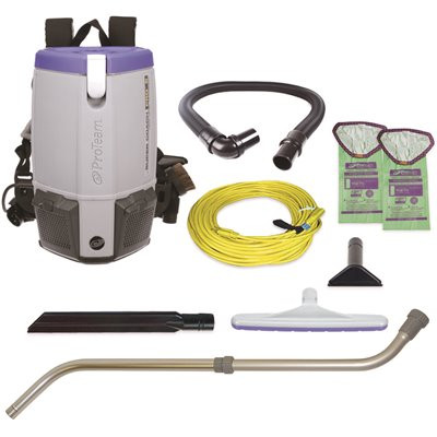ProTeam 107310 - Super Coach Pro 6, 6 qt. HEPA Backpack Vacuum w/ Xover Multi-Surface Telescoping Wand Tool Kit