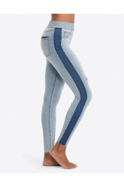 SPANX Distressed Skinny Jeans w/ Blue Stripe