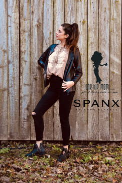 Madi in Spanx black distressed jeans