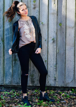 Madi - Spanx distressed black skinny jeans