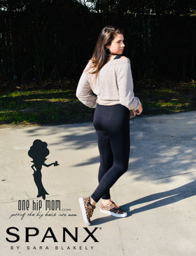 Madi in Look At Me Now Seamless Leggings by Spanx in Black.