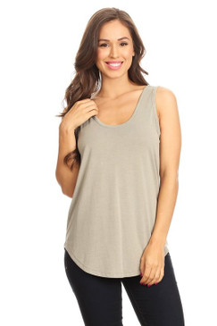 Simple Light Olive Tank by Pink Note