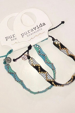 Pura Vid Metal Woven Seed Bead Bracelet