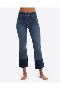 SPANX Cropped Flare Jeans in Medium Wash