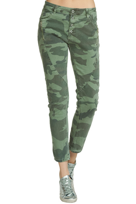Camo Jeans with Button Down Fly and Zipper Pocket Detail by Elan