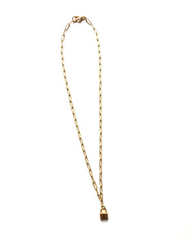 Virtue Paperclip Chain Charm Necklace - Lock