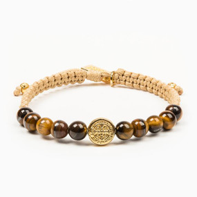 My Saint My Hero - Wake Up and Pray Meditation Bracelet - Tiger's Eye - For Men and Women