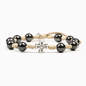 My Saint My Hero - Honor Blessing Bracelet For Men - Tan Hematite