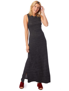 Alternative Eco-Jersey Side Slit Maxi Tank Dress Eco Black