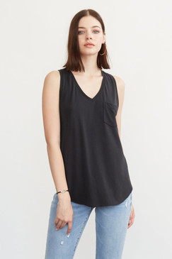 Another Love Esther Pocket Tank in Black