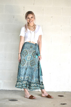 Madi - Silk Wrap Skirt Double Sided - Blue Print