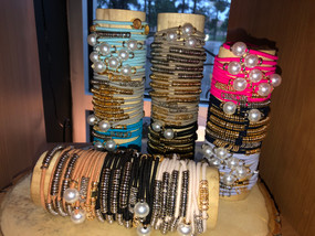 Bracelets that double as hair ties! Disc and Pearl styles