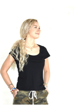 Alternative Organic Cotton Scoop Neck Tee - Black