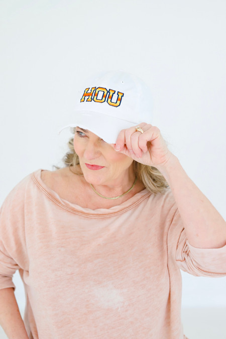 HOU White Cap Astros Colored Stitching