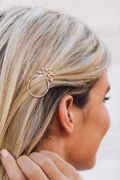 Pura Vida Rose Gold Pineapple Hair Barrette