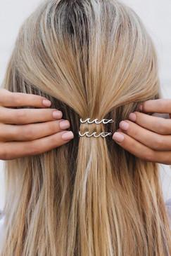 Pura Vida Silver Wave Hair Barrettes - Set of 2