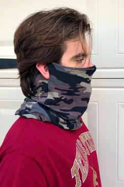 Neck/Face Shield With Ear Holes - Olive Camo