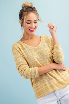 Ribbed Mustard V Neck