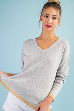 Reversed Stitch V Neck Top