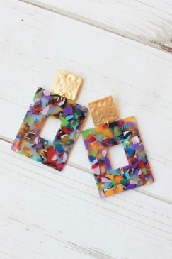 Virtue Confetti Square Hammered Post Earrings