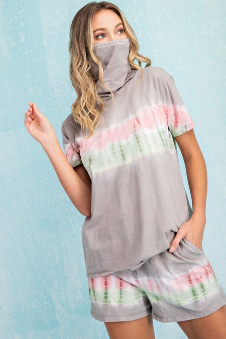 Tie Dye Top Grey with Facial Cover