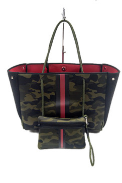 Haute Shores Greyson Brat2 Green Camo Red Stripe Tote
