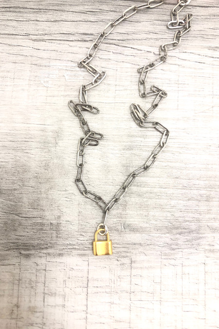 """Virtue 16"""" Paperclip Chain Charm Necklaces Gold Lock Silver Chain"""