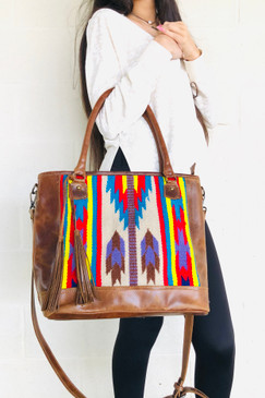 Brown Leather Multi Color Blanket Purse