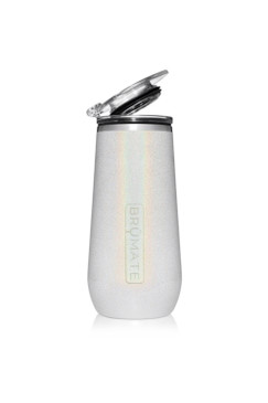 BruMate Champagne Flute 12 oz Glitter White