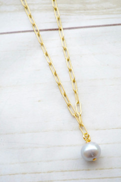 "Virtue 16"" Paperclip Chain Grey Pearl Necklace"