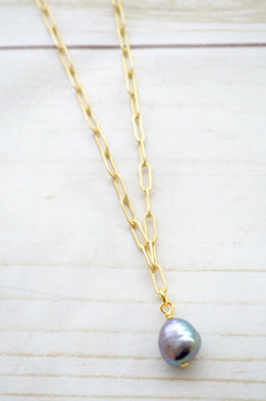 "Virtue 16"" Paperclip Chain Peacock Pearl Necklace"