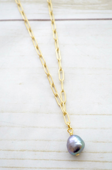 """Virtue 16"""" Paperclip Chain Peacock Pearl Necklace"""