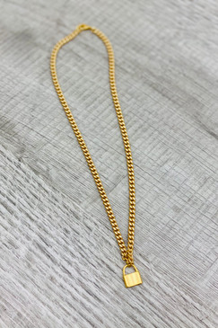 "Virtue 18"" Medium Curb Large Gold Lock Necklace"